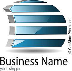 Logo 3d blue glossy shape stylized sail