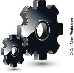 logo 3D gears black glossy, vector illustration.