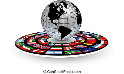 Logo 3D globe on podium with national flags