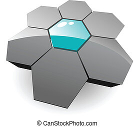 Business, corporation 3d vector logo - grey hexagons.