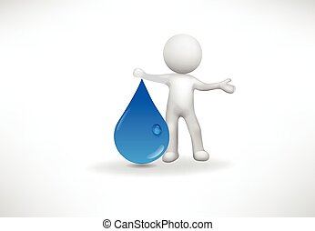 Logo 3d Small People with a drop of water