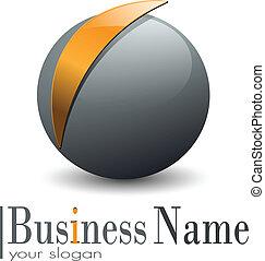 Logo 3d sphere, vith abstract orange element