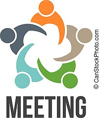 logo, 5, meeting., grupa, ludzie