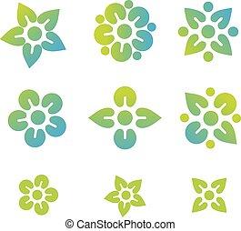 logo, abstract, bloem, set, pictogram