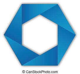 Logo abstract blue hexagon shape