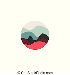 logo, abstract, cirkel, landscape