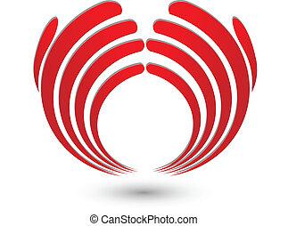 logo, abstract, handen