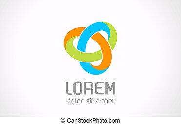 Logo abstract loop triangle shape. Vector.