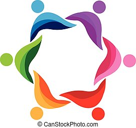 logo, abstract, teamwork, mensen