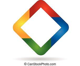 logo, abstrakcyjny, diament, barwny