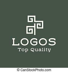 logo, abstrakcyjny, drzewo, płaski, styl, wektor, ilustracja