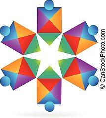 logo, abstrakcyjny, ludzie, gwiazda, drużyna
