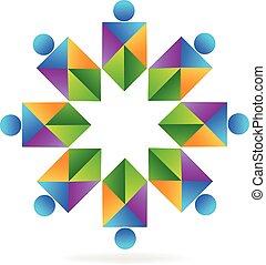 logo, abstrakcyjny, teamwork