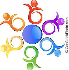 logo, abstrakt, blomst, farvet