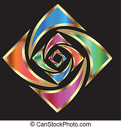 logo, abstrakt, blomst, guld
