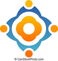 logo, abstrakt, blomst, teamwork