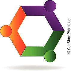 logo, abstrakt, gemeinschaftsarbeit, geschäftsmenschen