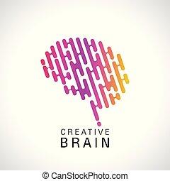 logo, abstrakt, hjärna, färgrik