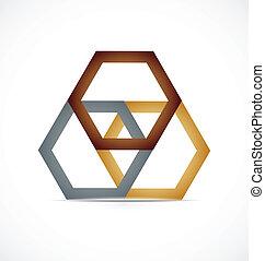 logo, abstrakt, metall, geometrisch