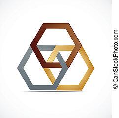 logo, abstrakt, metall, sechseckig