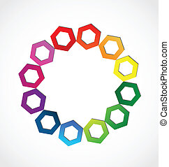 logo, abstrakt, sechseckig, bunte