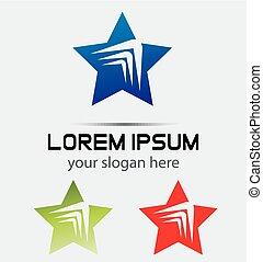 logo, abstrakt, stjerne, skabelon, element