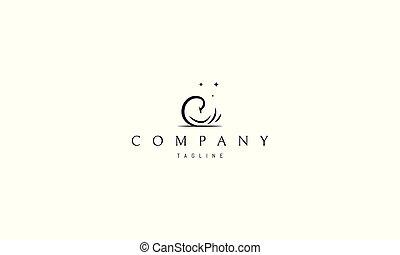 logo, abstrakt, vektor, bild, swan.