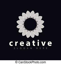 logo, abstrakt, vektor, blomst