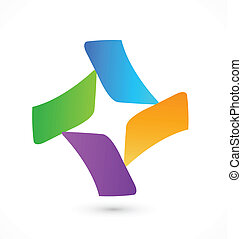 logo, abstrakt, vektor, branche card