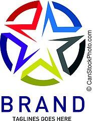 logo, abstrakt, vektor, stern, kreis