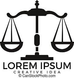 logo, adwokat, prawo, design.