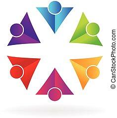 logo, affaires gens