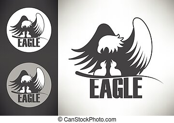 logo, aigle, nid, chauve