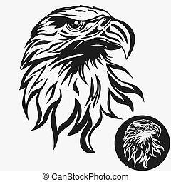 logo, aigle, vecteur, tête