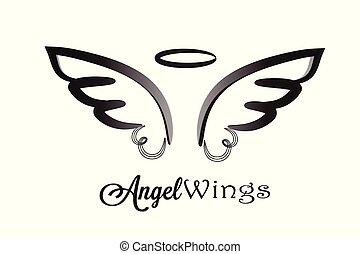 logo, ailes, ange