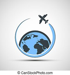 Logo airplane fly around the earth.