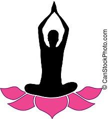 logo, albo, yoga, środek, stosowność