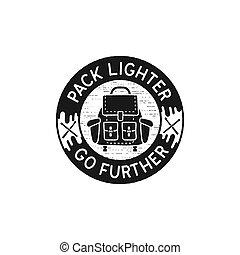 logo, aller, plus loin, style., silhouette, camping, vendange, sac à dos, -, isolé, noir, dessiné, stockage, emblème, quote., main, vitnage, briquet, pièce, vecteur, icon., voyage, meute