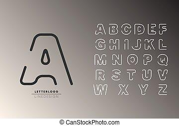 Logo alphabet font. Letters logotype line design