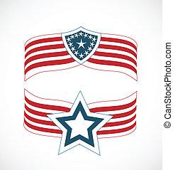 logo, américain fléchit, icônes