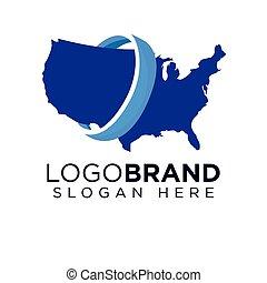 logo, américain, global, gabarit