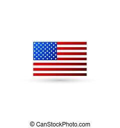 logo, américain, vecteur, drapeau