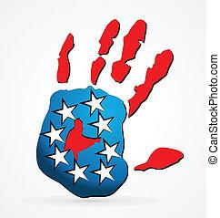 logo, américain, vecteur, main
