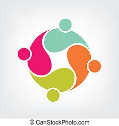 logo, amis, groupe, 4, communauté