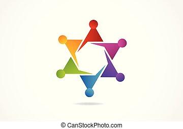 logo, amitié, étreinte, collaboration