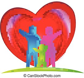 logo, amour famille, coeur