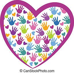logo, amour, mains