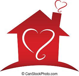 logo, amour, maison
