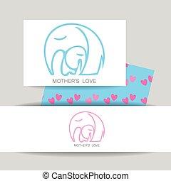 logo, amour, maman