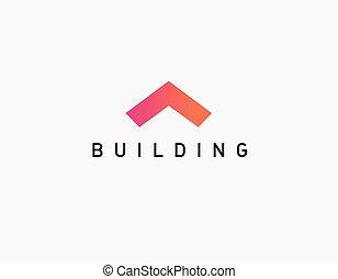 logo, angle, icône, résumé, construction, géométrique, toit
